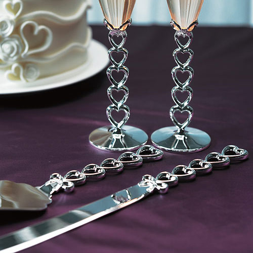 Open Hearts and Bows Cake Knife and Server Set